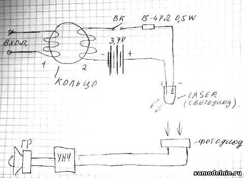 ...подключаем к одному из концов вторичной обмотки, плюс аккумулятора подключаем напрямую к плюсу лазерного диода.