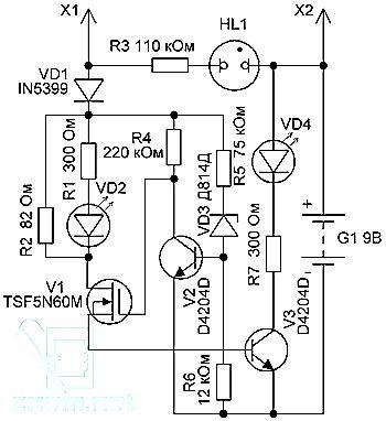 Электросхема простого пробника