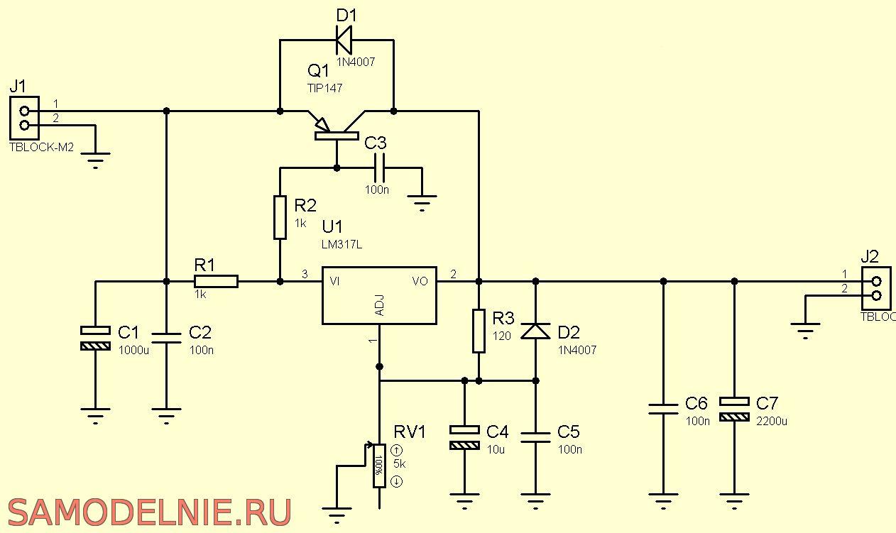 Регулируемый блок питания на транзисторах