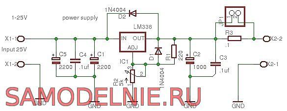 Схема простого БП 5 ампер 24