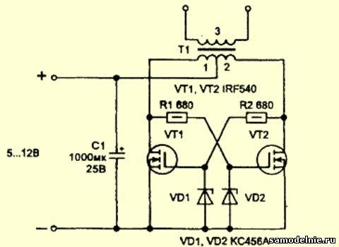 Мультивибратор на полевых транзисторах схема