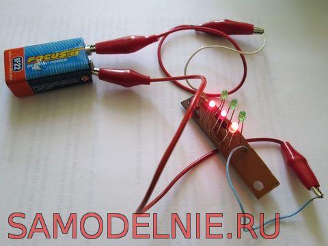 Схема светодиодной мигалки -